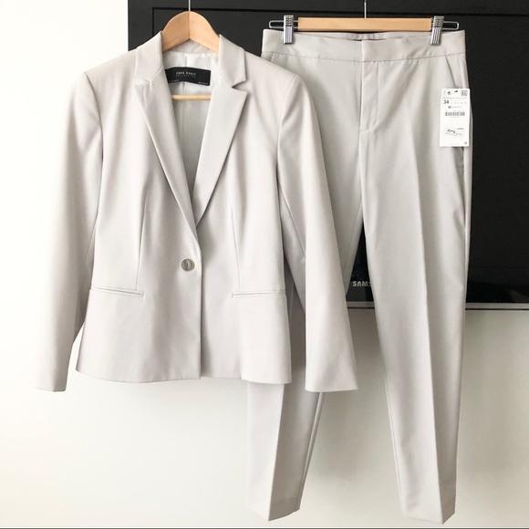 Zara Grey Blazer & Pants sz 34